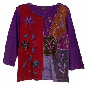 Rising International Patchwork Embroidered Top